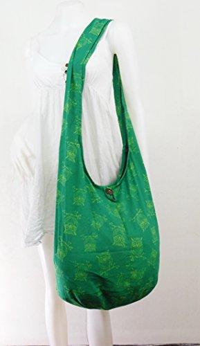 NaLuck Hippie Boho Hibou Vintage Sac à bandoulière-Taille L Vert - vert clair