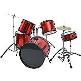 Festnight Schlagzeug Komplettset aus Pulverbeschichteter Stahl Rot für Erwachsene
