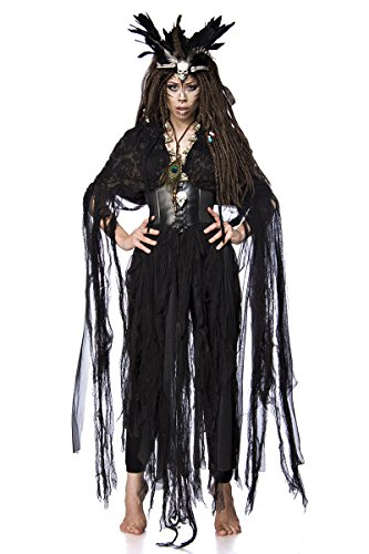 Damen Voodoo Priesterin Fantasy Kostüm Hexen Verkleidung aus Fetzencape, Leggings, Krone und Totenkopfkette Gürtel in schwarz Federkrone (Fantasy Kostüm Fairy)
