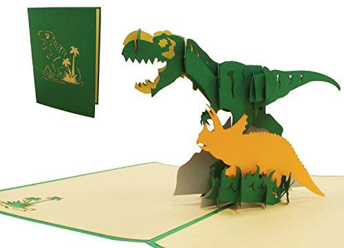 LIN 17538, Pop Up 3D Karten, Pop Up Geburtstagskarte, Grußkarten Dino, 3D Karten Klappkarten Geburtstagskarte Einschulung, Dinosaurier, N292