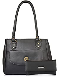 Fostelo Women's Combo Handbag & Clutch (Black & Black) (FSB-929-FC-29)