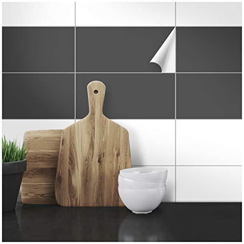 Wandkings Fliesenaufkleber - Wähle eine Farbe & Größe - Dunkelgrau Seidenmatt - 30 x 60 cm - 20 Stück für Fliesen in Küche, Bad & mehr