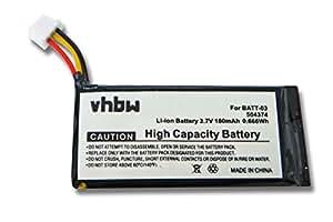 vhbw Batterie 180mAh (3.7V) pour casque audio Sennheiser DW Office, OfficeRunner, Pro 1, Pro 2 comme 504374, BATT-03