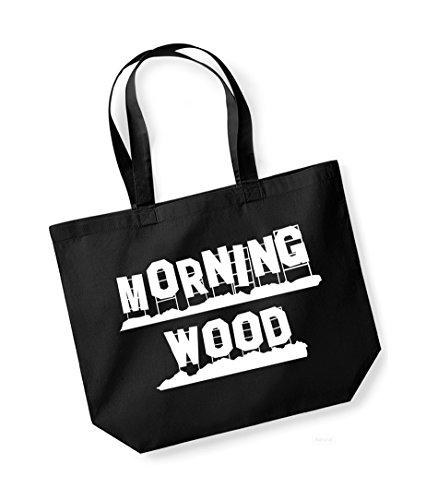 Morning Wood - Large Canvas Fun Slogan Tote Bag Black/White