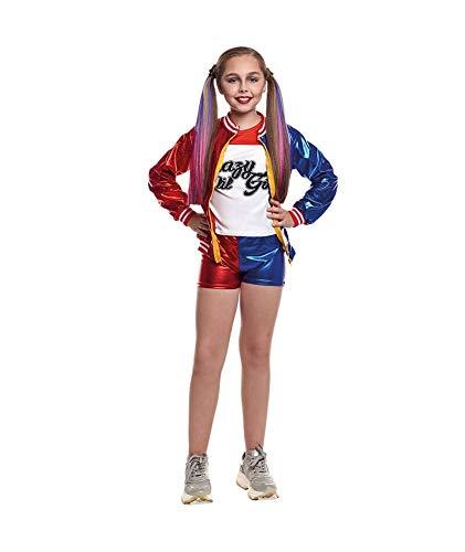 Costume harley quinn joker's baby girl per carnevale halloween rosso e blu 7-9 anni
