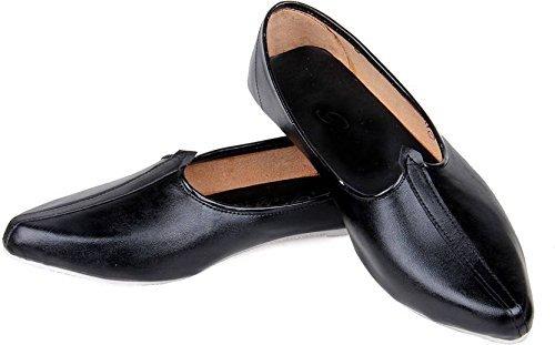 King Men's Leather Punjabi jutti-10 Black