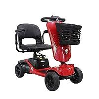 Awsgtdrtg 2-8 Mph Elderly Portable Travel Car Travel Mobility Scooter Detachable (Red)