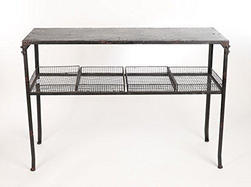 Konsolentisch im Industriellen Stil mit 4 Körben in Farbe Schwarz Ideal für den Flur 84 x 120 x 40 cm A24