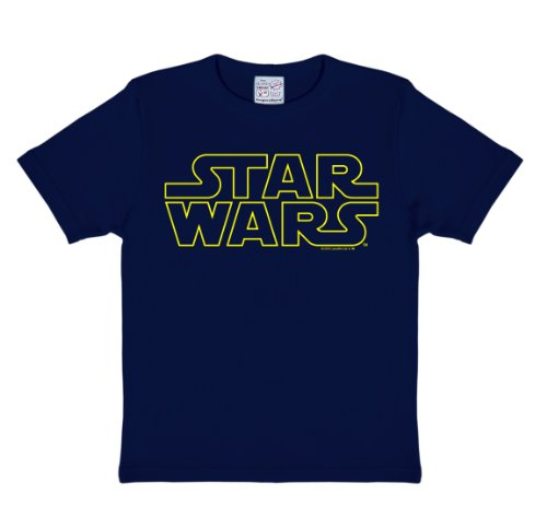 Star Wars Schriftzug - Star Wars Logo T-Shirt Kinder Jungen - dunkelblau - Lizenziertes Originaldesign - LOGOSHIRT, Größe 92/98, 2-3 (Shirt Kostüme Star Wars)