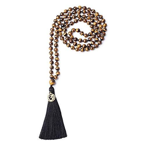COAI Unisex Handgeknüpft 108 Mala Yoga Kette Buddhistische Halskette Gebetskette aus Tigerauge Gelb mit Quaste und OM Anhänger