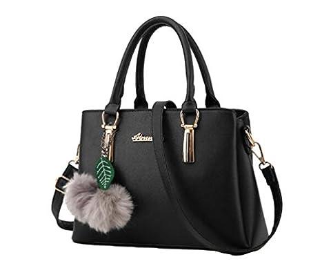 YAANCUN Femme Cuir à Bandouli è Re épaule Crossbody Sacs à Main Messenger Bag Noir