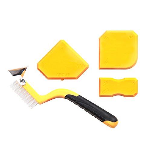 5 in 1 Profi Fugenwerkzeug Set für endlich strahlende Silikonfugen - 3 Fugenglätter, Fugenmesser und Fugenbürste für Silikon und Fliesen - Silikon und Fugen Reparatur Werkzeug