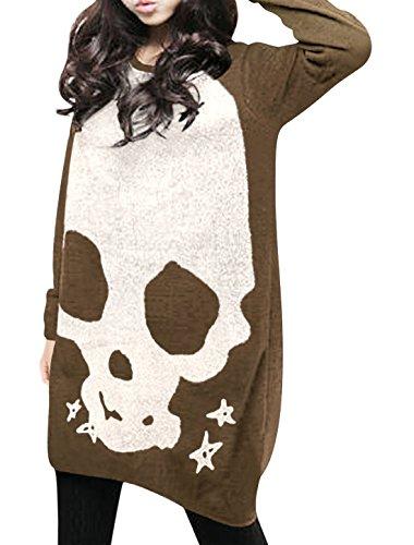 Allegra K Femme Manches Longues Crâne T-shirts En Vrac Blouses Tunique Longue Haut brown