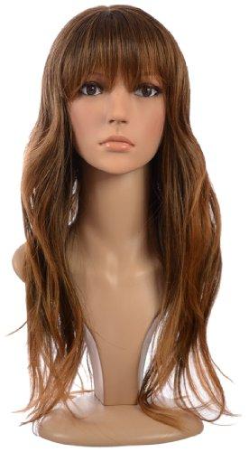 Perruque Tiffany Longue Ondulée Châtain Foncé Ombré Mélange de Cheveux Humains / Frange Souple