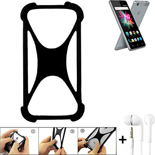 K-S-Trade Handyhülle für Allview X3 Soul Mini Schutzhülle Bumper Silikon Schutz Hülle Cover Case Silikoncase Silikonbumper TPU Softcase Smartphone, schwarz (1x), Headphones