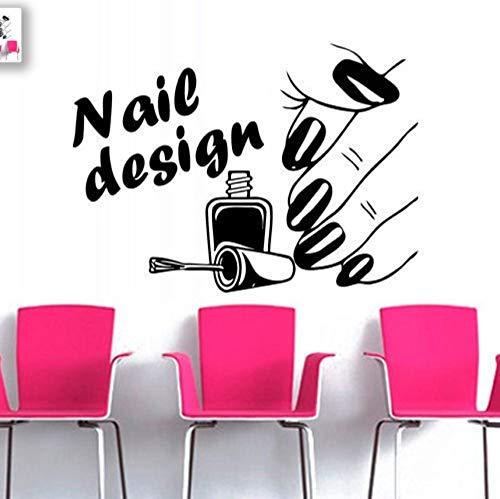 Hwhz 60 X 80 Cm Nageldesign Schönheitssalon Serie Wandaufkleber Frau Hand Mit Nagel Muster Kunst Wandmalereien Dekor Home Zimmer Spezielle Dekor