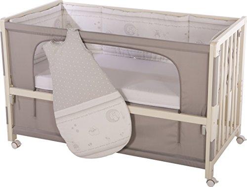 roba Roombed, Babybett 60x120 cm, Beistellbett zum Elternbett inklusive Matratze, Nestchen und Schlafsack