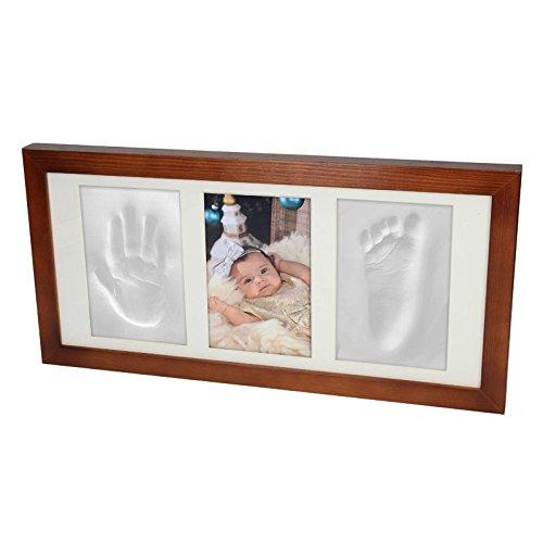 baby-3d-gips-set-abdruck-handabdruck-fussabdruck-abform-gipsabdruck-bilderrahmen-braun