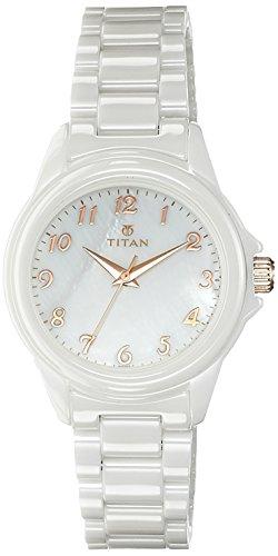 Titan Ceramic Analog White Dial Women's Watch - 95019KC01J image