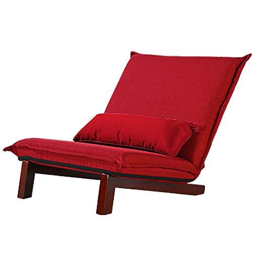 Xiaoyan sedia singola + gambe in legno massello + cuscini piccoli divano da salotto pieghevole in tessuto per camera da letto da balcone lavabile in 10 colori (colore : red-2)
