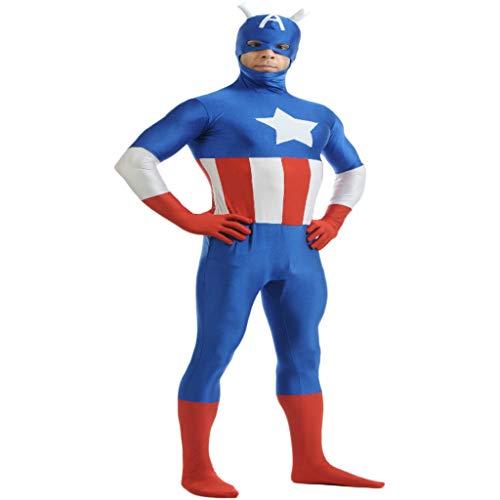 First Kostüm Cosplay America Captain Avenger - QWEASZER Captain America:The First Avenger Erwachsenen Captain America Kostüm PS4 Superheld Anime Zentai Kostüme Männer Film Cosplay Kostüm Overall Onesies,Blue-145~160cm