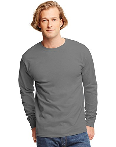 hanes-t-shirt-a-manches-longues-homme-gris-smoke-gray-taille-xxxl