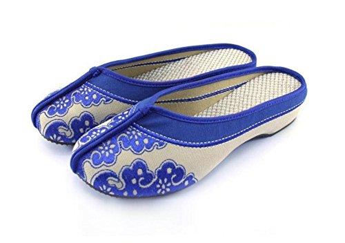 ZLL Blaues und weißes Porzellan Gestickte Schuhe, Sehnensohle, ethnischer Stil, weiblicher Flip Flop, Mode, bequem, Sandalen blue.