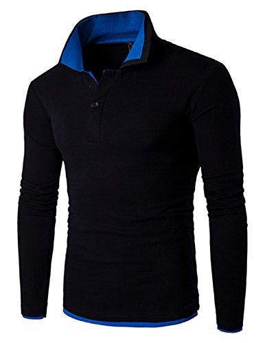 LIANIHK Poloshirt Herren T-shirt Slim Fit Langarm Elegante Männer Freizeit Polo Farbe Four