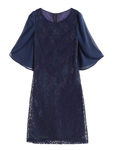 YFLTZ Damen Ausgehen Slim Shift Dress, Marineblau, XL Damen Navy Blue Shift