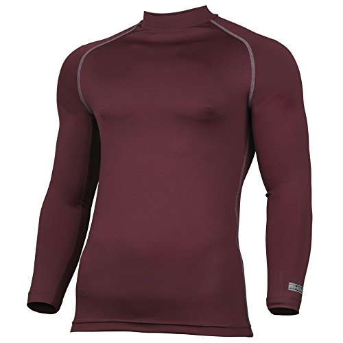 Rhino Base Layer Top Adult - Unisex Long Sleeve Sports Compression Body Fit Top Maroon XXXLarge
