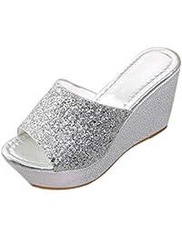 Chanclas de Vestir Plateadoforma Cuña para Mujer Invierno Primavera PAOLIAN Zapatos de Fiesta Tacón Grueso Elegantes