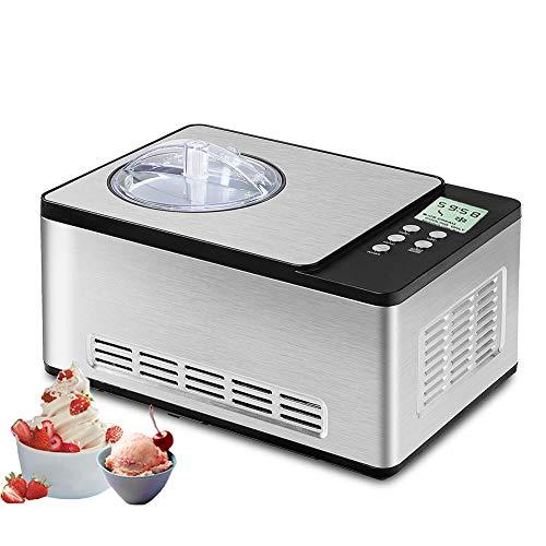 HOPELJ Automatique Machine de Crème Glacée 1,5 L avec Compresseur, Fait Délicieuse Crème Glacée, Professionnel Acier Inoxydable Sorbetière, Détachable Pagaie de Mélange et Facile à Nettoyer Bol