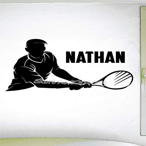 zqyjhkou Tennisspieler Silhouette Sport Cool Wandaufkleber Tennis Thema Maßgeschneiderte Persönlichen Namen Kunst Decor Vinyl Wandtattoo Wandbilder Ea660 87x56 cm