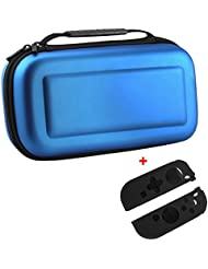 Hard Shell Carrying Case bolsa con 1 par de silicona para c -Aero Travel Bolsa de almacenamiento con 10 tarjetas de juego titular 2 protector de silicona para la alegría (Azul)