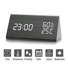 LED sveglia, sveglia digitale in legno attivata tramite tocco o audio, visualizza la data e la temperatura dell'ora…