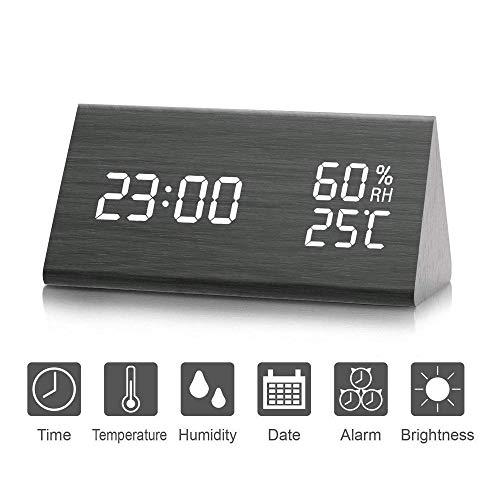 Reloj de Alarma Digital, Salón creativa moderna y simple reloj LED Digital de Triángulo madera, año...