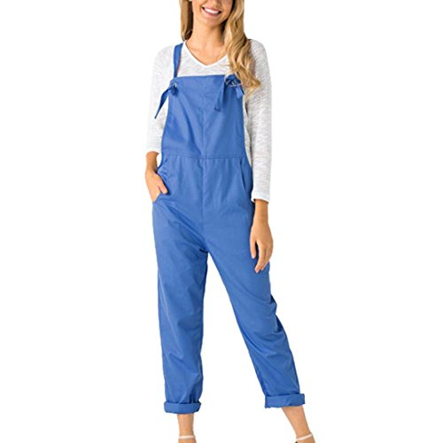 Wawer Women Summer Jumpsuits  Causal Solid Cotton Pockets Rompers Playsuit with Long Pants Holiday Ladies Loose Dungarees Jumpsuit Clubwear Bodycon Playsuit Romper  M  Blue
