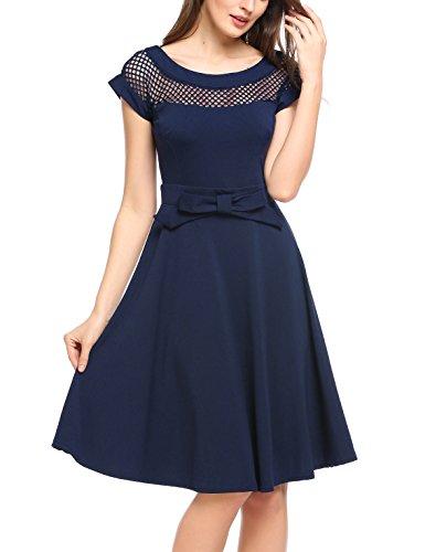 Parabler Damen 50s Vintage Rockabilly Kleid Sommerkleid mit Mesh Knielang Kurzarm Cocktailkleid...