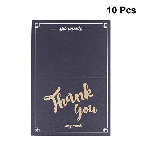 NUOBESTY 10 stücke Geburtstag Hochzeit Karten Gruß Geschenk Einladungskarten für Geburtstag Weihnachten Halloween Schwarz