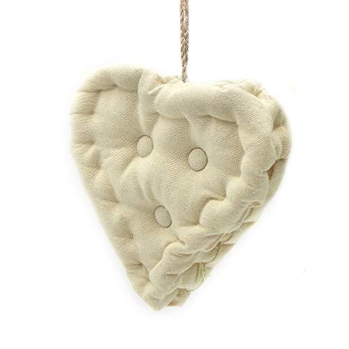 Blanc Mariclo Oreiller Pendentif, Coussin décoratif en Forme de Coeur, Coussin Coeur Shabby Chic et Romantique - Matelassé - 18x18 - Naturelle - 100% Coton