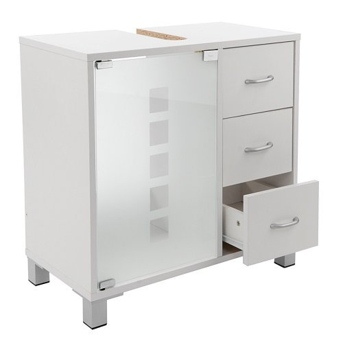 Limal Waschtischunterschrank mit 3 Schubladen Holz weiß, 30 x 60 x 56 cm | Glastür...