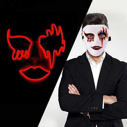 (LUXACURY Weihnachtskostüm Dekor Maskerade Party Cool Mask Halloween Cosplay Party Maske LED EL Draht leuchten Maske für Festival Weihnachtsfeiern Halloween Makeup Party Dekoration)