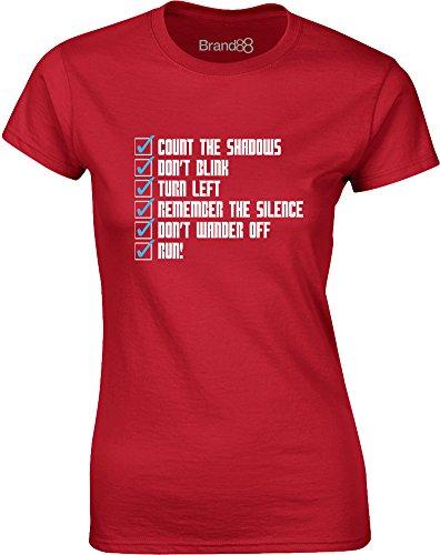 Brand88 - Whovian Checklist, Gedruckt Frauen T-Shirt Rote/Weiß