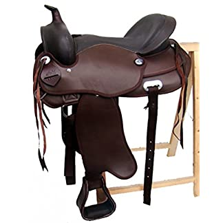 A&M Reitsport Omaha Tree less Western Saddle Brown Faux Leather Size: 15 Inches 15