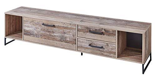 AVANTI TRENDSTORE - Irrel - Mobile TV in legno laminato e metallo, parte della serie di mobili IRREL. Dimensioni LAP 197x47x42 cm