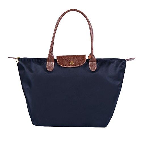 Fletion Nylon Wasserdichte Damen Handtasche Schulterhandtaschen Schulter Faltbare Einkaufstüten Reisetasche, Dunkelblau, Größe M, LxHxB:  44x30x18 cm, Grifflänge 20 cm (Damen-schulter-handtaschen)