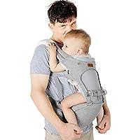 Lictin Porte-bébé ergonomique avec siège et capuche amovibles, ajustable et respirant- Porte-bébé avec 2 serviettes et 1 chaîne tétine, 6 façons de porter, pour nouveau-né et bébé de 3,5 à 20 kg