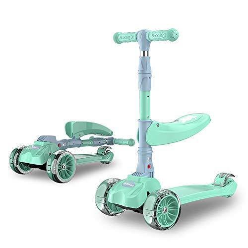 L.HPT 3-in-1 Roller für Kinder Kinder Kleinkind Roller mit abnehmbarem Sitz 5CM Blinkende Räder Höhenverstellbarer Lenker Jungen Mädchen Roller Alter 3-12 Jahre alt, Green