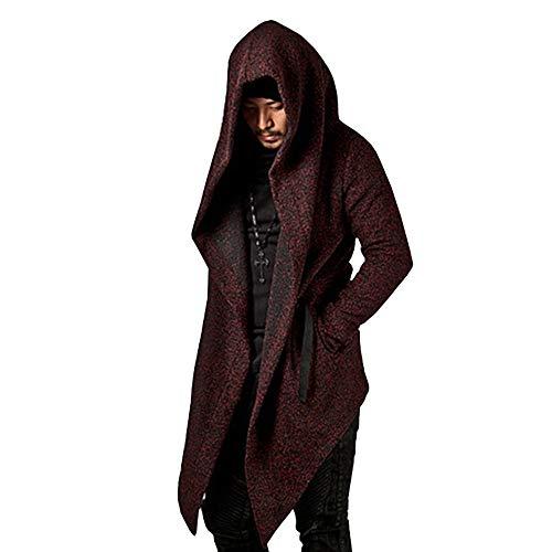 MAYOGO 2018 Fashion Winter Sale Hoodie Sweatshirt für Männer, Hooded Cardigan Mäntel Herren Herbst Winter Lang Cloak Outwear mit Kapuze,Schwarz Weinrot S-XXXL
