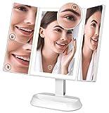 Ovonni Miroir Pliant Lumineux LED, Miroir de Table à 3 Volets avec 60 Perles LED, Écran Tactile, 3 Mode de Lumière, Luminosité Réglable, grossissement 5X / 7X / 10X, Alimenté par USB/Batteries